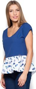 Granatowa bluzka Katrus z krótkim rękawem w stylu casual