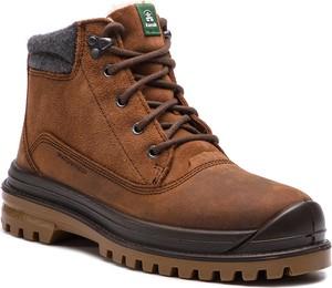 Brązowe buty trekkingowe Kamik z nubuku sznurowane