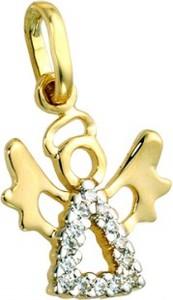 Hosa Złota zawieszka aniołek z cyrkoniami (łączone złoto) (próba 333)