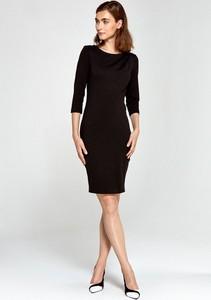 Czarna sukienka Merg z okrągłym dekoltem z długim rękawem mini