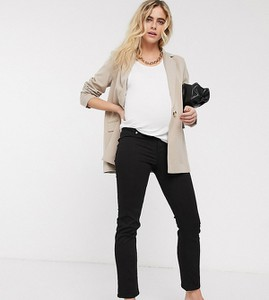 ASOS DESIGN Maternity – Czarne jeansy cygaretki z podwyższonym stanem i gumkami po bokach-Czarny