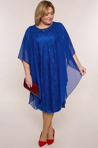 Niebieska sukienka modneduzerozmiary.pl z okrągłym dekoltem