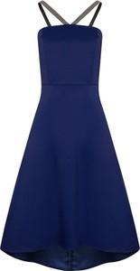 Niebieska sukienka Tiffi na ramiączkach z dekoltem w kształcie litery v
