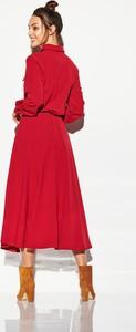 Czerwona sukienka TAGLESS z długim rękawem