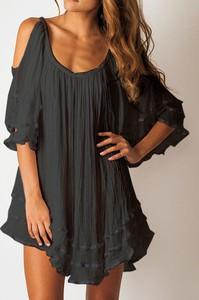 Czarna sukienka Sandbella mini z długim rękawem