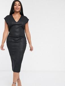 Czarna sukienka Asos z krótkim rękawem midi ze skóry ekologicznej