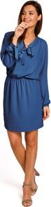 Niebieska sukienka Stylove z długim rękawem mini z dekoltem w kształcie litery v