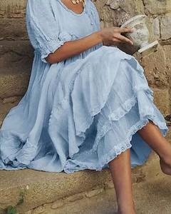 Niebieska sukienka Kendallme w stylu boho z długim rękawem oversize