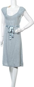 Niebieska sukienka Lysgaard midi w stylu casual z okrągłym dekoltem