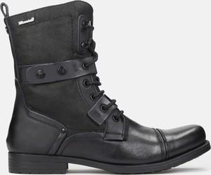 Buty zimowe Kazar ze skóry sznurowane w stylu casual