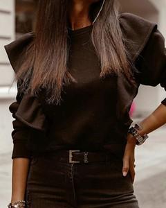 Czarna bluzka Kendallme z okrągłym dekoltem