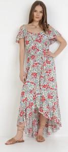 Sukienka born2be maxi asymetryczna z dekoltem w kształcie litery v