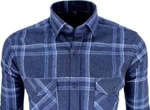 Niebieska koszula Megafinest w stylu casual z bawełny z długim rękawem