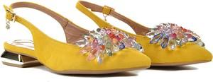 Żółte sandały R.Polański z zamszu z klamrami na obcasie