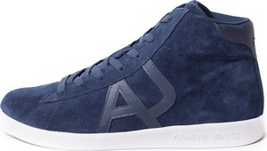 Buty sportowe Armani Jeans z zamszu w młodzieżowym stylu sznurowane