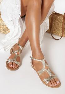 Złote sandały born2be w stylu casual