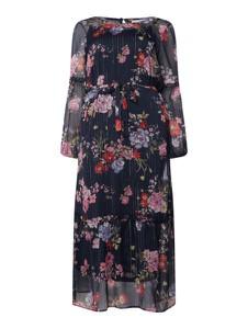Granatowa sukienka Junarose z szyfonu mini z długim rękawem