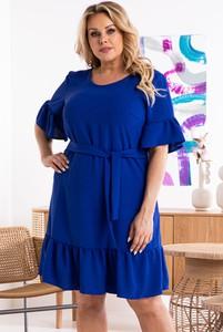 Niebieska sukienka KARKO mini z tkaniny w stylu casual