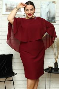 Czerwona sukienka KARKO z tkaniny mini z długim rękawem