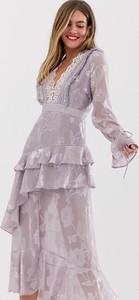 Fioletowa sukienka Dark Pink asymetryczna