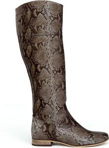 Brązowe kozaki Zapato w stylu klasycznym z nubuku
