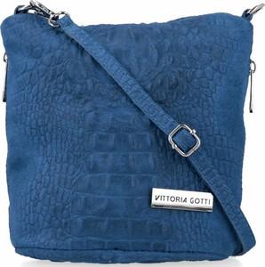Niebieska torebka VITTORIA GOTTI ze skóry zamszowa na ramię