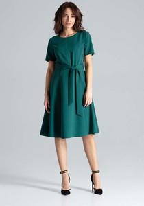 Zielona sukienka Katrus z okrągłym dekoltem midi