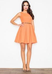 Sukienka Figl mini z okrągłym dekoltem rozkloszowana