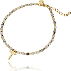 Simplicity Bransoletka złota z białym howlitem - krzyżyk BSC0334