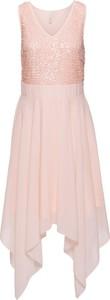 Różowa sukienka bonprix bodyflirt boutique bez rękawów na studniówkę