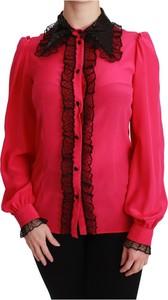 Bluzka Dolce & Gabbana z jedwabiu z długim rękawem z okrągłym dekoltem