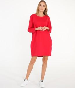 Czerwona sukienka Unisono z długim rękawem