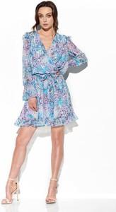 Niebieska sukienka Lemoniade z długim rękawem w stylu casual z jedwabiu