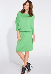 Zielona sukienka FLORENCE z lnu midi prosta