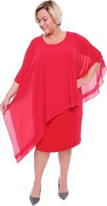 Czerwona sukienka modneduzerozmiary.pl dla puszystych z okrągłym dekoltem