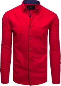 Czerwona koszula Dstreet z długim rękawem z kołnierzykiem button down z bawełny