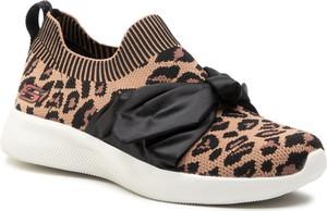 Brązowe buty sportowe Skechers na platformie sznurowane