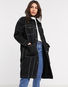 Czarny płaszcz Monki z jeansu