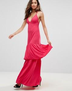 Czerwona sukienka Club L London na ramiączkach z dżerseju maxi