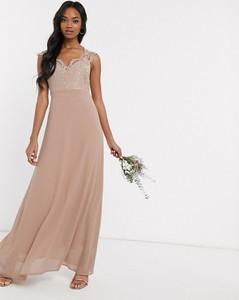 Brązowa sukienka Tfnc z dekoltem w kształcie litery v maxi