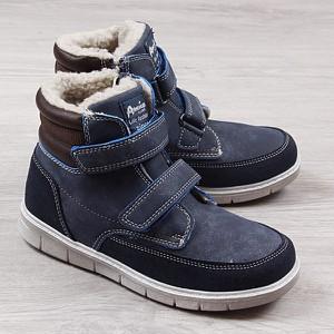 Granatowe buty dziecięce zimowe American Club dla chłopców na rzepy