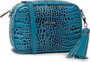 Niebieska torebka eobuwie.pl z nadrukiem z frędzlami w młodzieżowym stylu