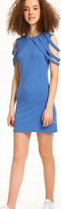 Niebieska sukienka Troll trapezowa z krótkim rękawem mini