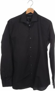 Czarna koszula Cortefiel z klasycznym kołnierzykiem z długim rękawem w stylu casual