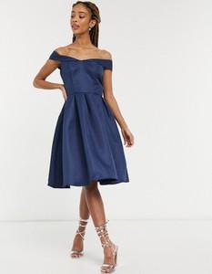 Granatowa sukienka Chi Chi London hiszpanka z krótkim rękawem midi