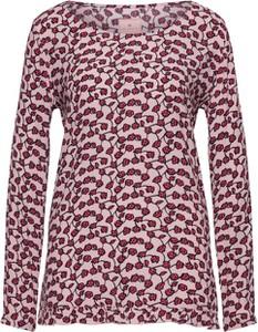 Fioletowa bluzka Lieblingsstück w stylu casual z okrągłym dekoltem z długim rękawem