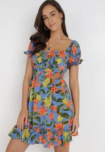 Niebieska sukienka born2be mini z dekoltem w kształcie litery v z krótkim rękawem