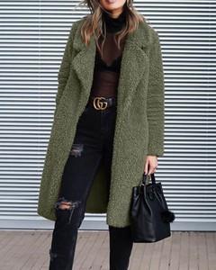Kendallme Długi pluszowy płaszcz z kołnierzem klapami kurtka wojskowa zieleń