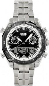 ZEGAREK MĘSKI Skmei 1204CS - elektroniczno-wskazówkowy Srebrny