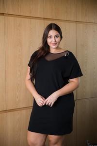 Czarna sukienka tono.sklep.pl mini z długim rękawem z okrągłym dekoltem